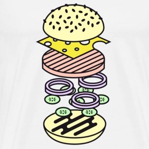 Blanc Burger Badges - T-shirt Premium Homme
