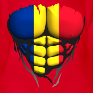 Romania flag torso body muscled abdos Shirts - Organic Short-sleeved Baby Bodysuit