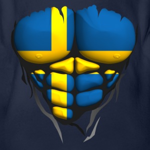 Sweden flag torso body muscled abdos Shirts - Organic Short-sleeved Baby Bodysuit