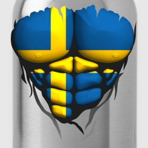 Sweden flag torso body muscled abdos Shirts - Water Bottle