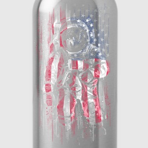 Astronaut with American Flag T-Shirt - Water Bottle