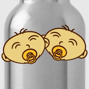 2 twins siblings faces pacifier T-Shirts - Water Bottle