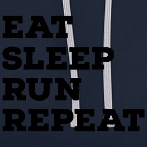 Eat, Sleep, Run, Repeat Koszulki - Bluza z kapturem z kontrastowymi elementami