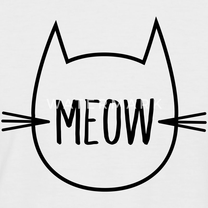 Meow (Cat Outline) T-Shirts - Men's Baseball T-Shirt