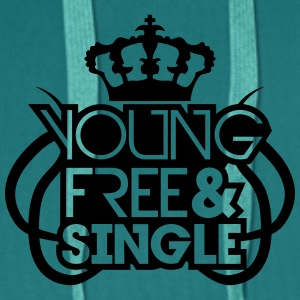 Young Free And Single Krone König Königin Tribal C T-Shirts - Men's Premium Hoodie