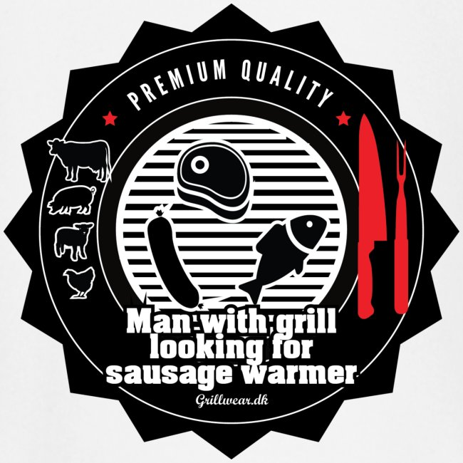 Man with grill looking for sausage warmer