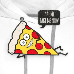 Funny Cartoon Pizza - Statement / Funny / Quote  Aprons - Men's Premium Hoodie