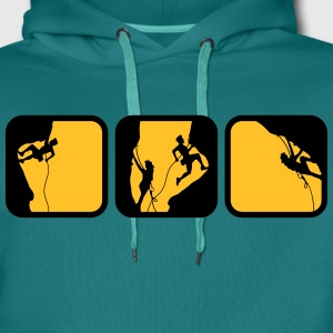 climbing man logos boxes in the evening 3 T-Shirts - Men's Premium Hoodie