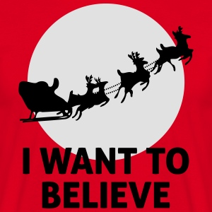 I Want To Believe In Santa Claus  Aprons - Men's T-Shirt