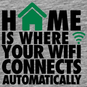 Sandgrau Home is where your wifi connects automatically Sonstige - Männer Premium T-Shirt