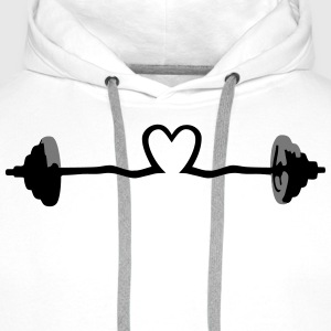 weightlifting - barbell and heart T-Shirts - Men's Premium Hoodie