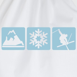 MOUNTAIN, SNOWFLAKE, SKIER - 3 BOXES - Drawstring Bag