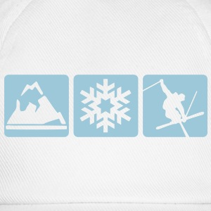 MOUNTAIN, SNOWFLAKE, SKIER - 3 BOXES - Baseball Cap