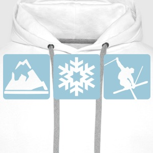 MOUNTAIN, SNOWFLAKE, SKIER - 3 BOXES - Men's Premium Hoodie