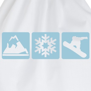 MOUNTAIN, SNOWFLAKE, SNOWBOARDER -  - Drawstring Bag