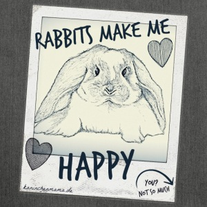 Rabbits make me Happy... - Schultertasche aus Recycling-Material