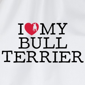 i love my bull terrier - Drawstring Bag