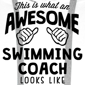 awesome swimming coach looks like - Men's Premium Hoodie