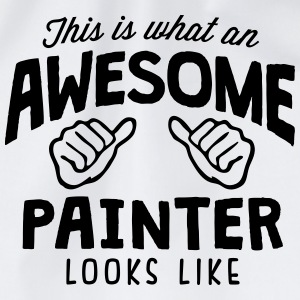 awesome painter looks like - Drawstring Bag