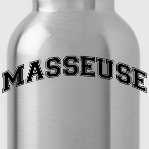 masseuse college style curved logo - Water Bottle