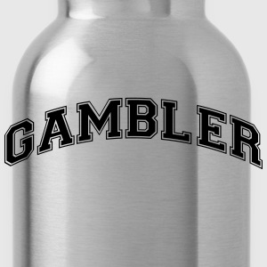 gambler college style curved logo - Water Bottle