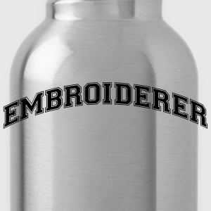embroiderer college style curved logo - Water Bottle