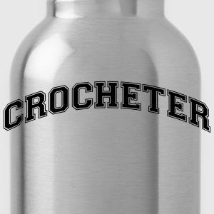 crocheter college style curved logo - Water Bottle