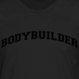 bodybuilder college style curved logo - Men's Premium Longsleeve Shirt