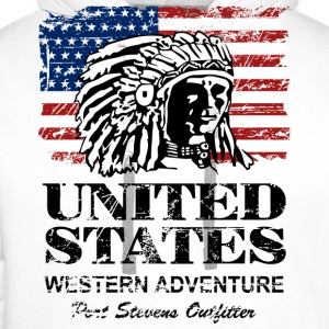 USA Flag - Indian Chief - Vintage Look Long sleeve shirts - Men's Premium Hoodie