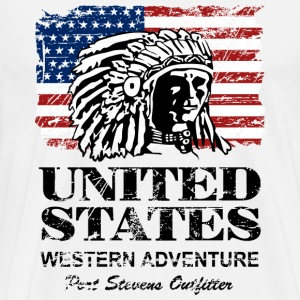 USA Flag - Indian Chief - Vintage Look Long sleeve shirts - Men's Premium T-Shirt