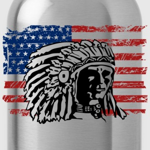 American Flag - Indian Chief - Vintage Look T-Shirts - Water Bottle