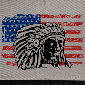 American Flag - Indian Chief - Vintage Look T-Shirts - Snapback Cap