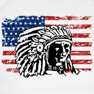 USA Flag - Indian Chief - Vintage Look Tröjor - Basebollkeps