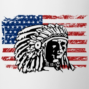 USA Flag - Indian Chief - Vintage Look Bluzy - Kubek
