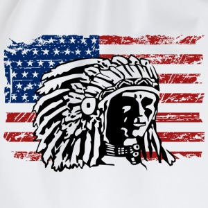 USA Flag - Indian Chief - Vintage Look Camisetas - Mochila saco