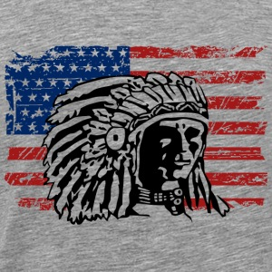 USA Flag - Indian Chief - Vintage Look Débardeurs - T-shirt Premium Homme