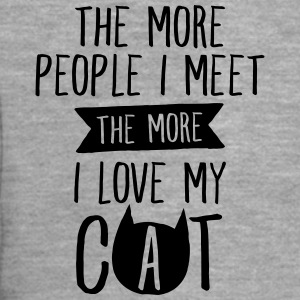The More People I Meet, The More I Love My Cat T-Shirts - Men's Premium Hooded Jacket