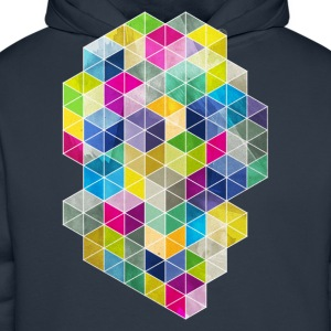 Navy Dirty Polygon T-Shirts - Men's Premium Hoodie