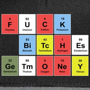 FUCK BITCHES earn money (periodic table) Torby i plecaki - Czapka typu snapback