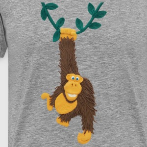Funny gorilla or monkey swinging on jungle vine - Men's Premium T-Shirt