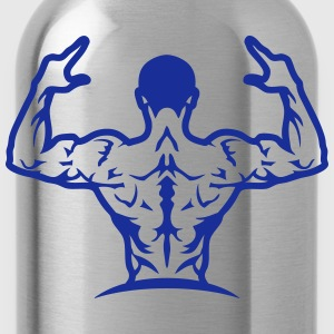 Bodybuilding back muscle man 1063 T-Shirts - Water Bottle