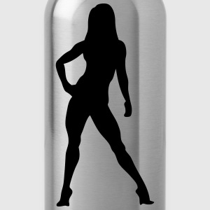 Silhouette woman bodybuilding fitness 10 Sports wear - Water Bottle