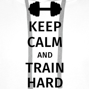 keep calm and train hard T-skjorter - Premium hettegenser for menn