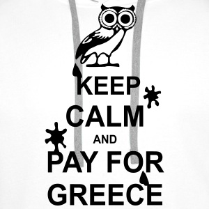 Keep calm and pay for Greece - 1 colour Tasker & rygsække - Herre Premium hættetrøje