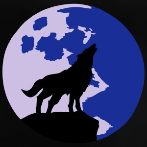 wolf and full moon Manches longues - T-shirt Bébé