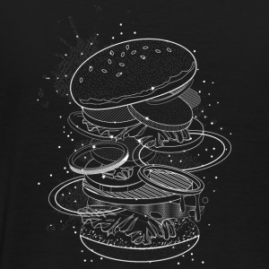 Burger Design made of white contours and stars Jackets & Vests - Men's Premium T-Shirt