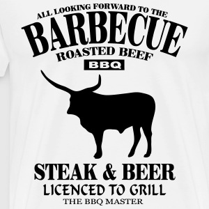Barbecue - Steak & Beer Forklæder - Herre premium T-shirt