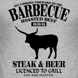 Barbecue - Steak & Beer Gensere - Slim Fit T-skjorte for menn