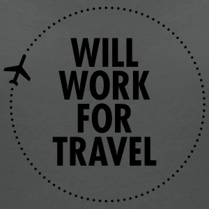 Will Work For Travel Tops - Women's V-Neck T-Shirt