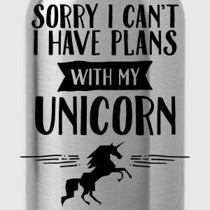 Sorry I Cant't - I Have Plans With My Unicorn T-Shirts - Water Bottle